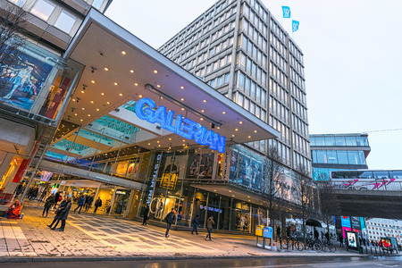 milion: STOCKHOLM, SWEDEN - JAN 30; The entrance to Gallerian built in the 1970s and is the concept of a mall that has been copied since then  2014 in Stockholm, Sweden  The Gallerian is a indoor mall aprox  240 m long with 15 milion visitors a year and about 80