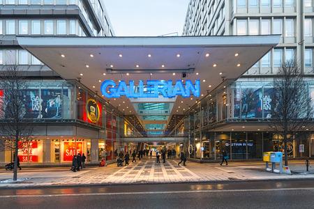 ストックホルム, スウェーデン - 1 月 30 日;1970 年代に建てられたな Gallerian への入り口で、ストックホルム、2014年からコピーされているモールのコン 報道画像
