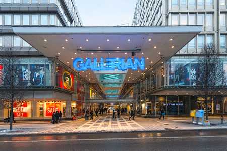 STOCKHOLM, SWEDEN - JAN 30; The entrance to Gallerian built in the 1970s and is the concept of a mall that has been copied since then  2014 in Stockholm, Sweden  The Gallerian is a indoor mall aprox  240 m long with 15 milion visitors a year and about 80