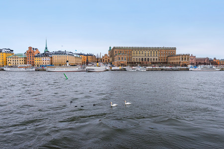 king carl xvi gustaf: STOCKHOLM, SWEDEN - JAN 30; Royal Castle in the district of the old town in Stockholm with boats and swans in the foreground, Sweden