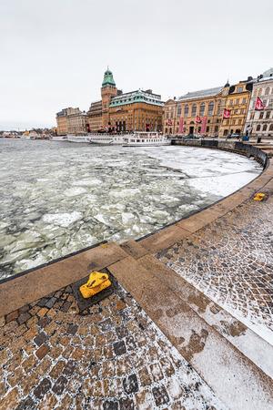 Nybrokajen at winter with old vintage ships at quay  2014 in Stockholm, Sweden