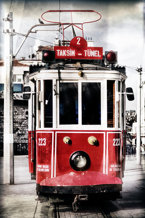 tramcar: Red tram at the Taksim square in vinatge style, Istanbul, Turkey - with filters applied