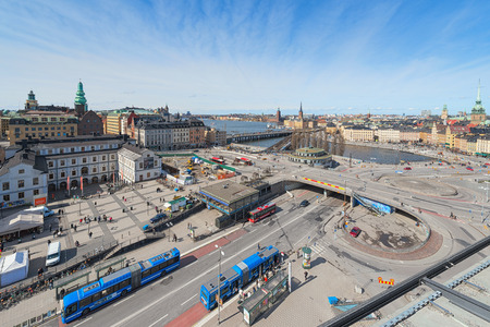 katarina: STOCKHOLM - APRIL 12: Aerial view of Stockholm and Slussen from Katarinahissen (Katarina Elevator). April 12, 2014 in Stockholm, Sweden. The Slussen area will be renovated in the years to come.