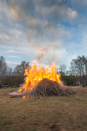 NORRTALJE - APR, 30, 2014  The traditional Valborg fire at Haverodal in April 30, 2014, Norrtalje, Sweden  Tradition in the Nordic countries to welcome the spring