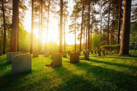 暖かい光と感情と影の木々 や墓石から落ちてくる日没の墓地 写真素材