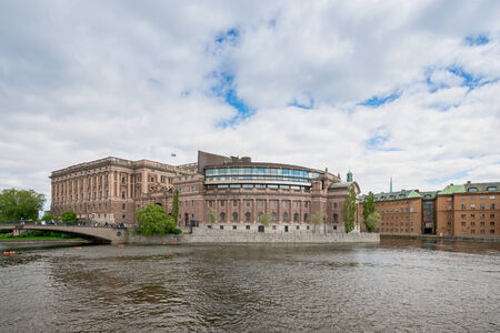 STOCKHOLM - MAY 27: View of the Swedish parliament building or Riksdagshuset. May 27, 2014 in Stockholm, Sweden. The new section is from 1983