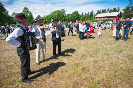 SINGO, NORRTALJE - JUNE 20: Musicians playing traditional folklore before the traditional maypole rising at midsummer. June 20, 2014 in Singo, Sweden. Stock Photo - 29362880