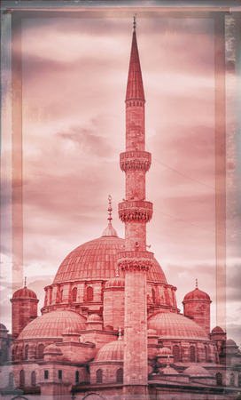 suleymaniye: Minaret in Istanbul, closeup of the Suleymaniye mosque in Istanbul with filters applied  Stock Photo