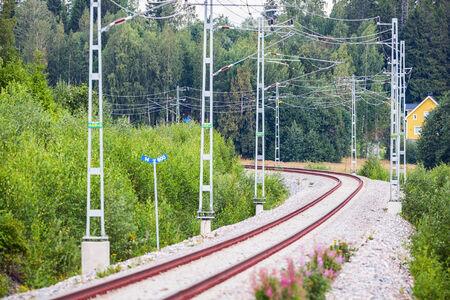 railtrack: Railtrack in a curve in beautiful landscape, Sweden