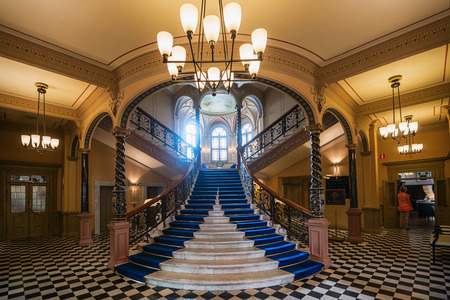 SUNDSVALL - JULY 31: Entrance to Hotel Knaus with its famous elegant marble stairs. July 31, 2014 in Sundsvall, Sweden. Built in 1891 and opened as hotel 1978.