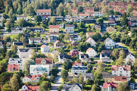 Residential area in Sundsvall from above.  photo