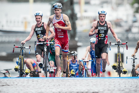 STOCKHOLM - AUG, 23: The leaders after the transition to cycling with Varga and the Brownlee brothers at the Mens ITU World Triathlon Series event August 23, 2014 in Stockholm, Sweden Editorial