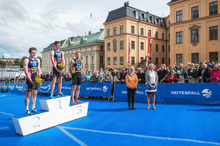 medalist: STOCKHOLM - AUG, 23: Jonathan Brownlee listening to national athem in the Mens ITU World Triathlon Series event August 23, 2014 in Stockholm, Sweden.