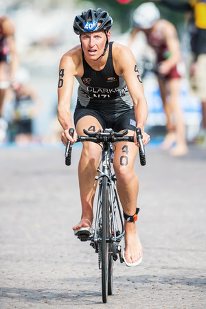 STOCKHOLM - AUG, 23: Rebecca Clarke from New Zeeland after the transition to cycling at the Womans ITU World Triathlon Series event August 23, 2014 in Stockholm, Sweden