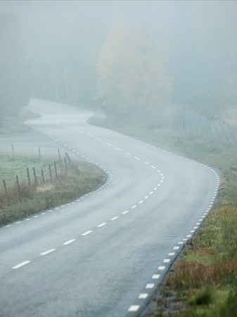 Curvy road in foggy weather, Sweden photo