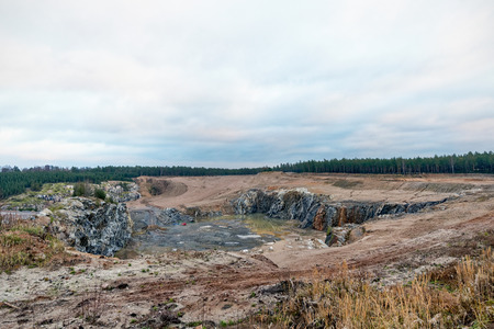 sand quarry: Sand quarry and with forest, Sweden Stock Photo