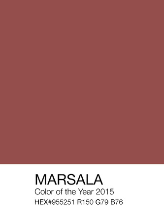 Marsala color sample patch with Hex and RGB recipes, color of the year 2015