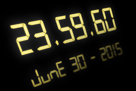Digital clock for the event of the 30th of June 2015 when we get a extra second, illustration Stock Photo
