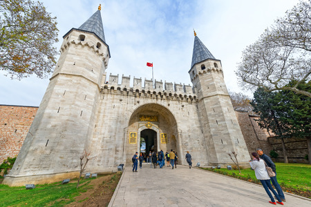 ISTANBUL, TURKEY - NOV 21: The entrance to the famous Topkapi palace in Istanbul in wide angle view, November 21 in Istanbul, Turkey.