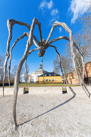 louise: STOCKHOLM, SWEDEN - FEB 25: The sculpture Mama of Louise Bourgoise outside the Moderna Museum in Stockholm, wide angle view, February 25 in Stockholm, Sweden. Exhibition of the artist Louise Bourgeois, I have been to hell and back. Editorial