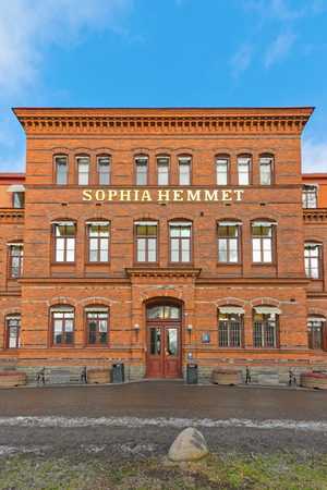 private hospital: STOCKHOLM, SWEDEN - FEB 25: The entrance of the private hospital Sophia Hemmet in Stockholm, February 25, 2015 in Stockholm, Sweden. The hospital opened in 1889 and is named after Queen Sophia of Sweden. Editorial