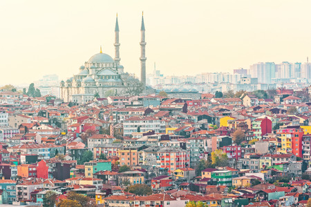 View over Istanbuls dense residential area with the Suleymaniye Mosque in sunlight