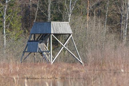watchtower: Wooden watchtower for birding in wetland during spring