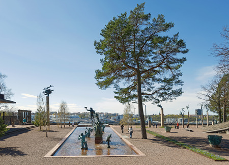famous statues: STOCKHOLM, SWEDEN - APRIL 26: Overview of the famous statues at Millesgarden of the sculptor Carl Milles. April 26, 2015 in Stockholm, Sweden. Created by world famous Swedish sculptor Carl Milles (1875-1955).