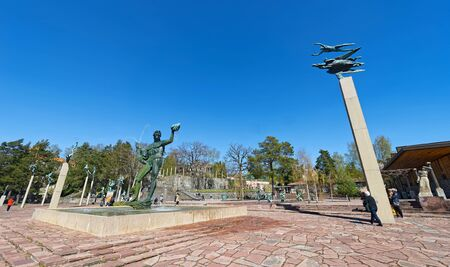 sculptor: STOCKHOLM, SWEDEN - APRIL 26: Wide angle view at Millesgarden with statues of the sculptor Carl Milles. April 26, 2015 in Stockholm, Sweden. Created by world famous Swedish sculptor Carl Milles (1875-1955).