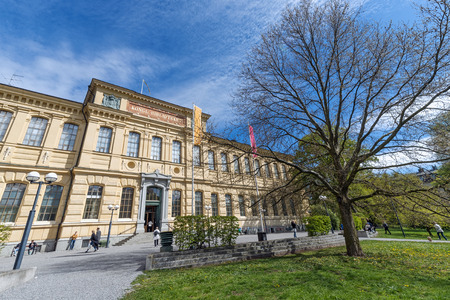 codex: STOCKHOLM, MAY 11: Entrance of the Royal library of Sweden during a sunny day with wide angle perspective. May 11, 2015 in Stockholm, Sweden. Built 1877