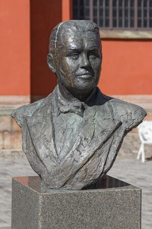 tenor: STOCKHOLM - MAY, 9, 2015: Statue of the world famous opera tenor Jussi Bjorling at Jakobs square in Stockholm. May 9, 2015, Stockholm, Sweden. The Statue is made by Pieter de Monchy