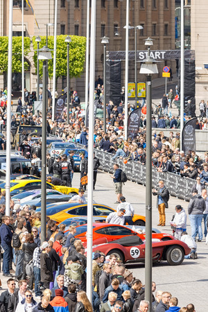 custom car: STOCKHOLM, SWEDEN - MAY 23: Gumball 3000 custom car at display on the streets of Stockholm on May 23, 2015. People at the streets admiring the exotic cars at display.