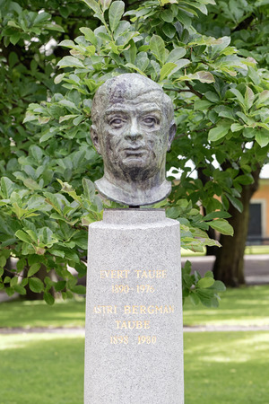 national poet: STOCKHOLM - JULY 01, 2015: The tombstone of Evert Taube at Maria Magdalena Church in Stockholm. Very famous national composer in Sweden Editorial