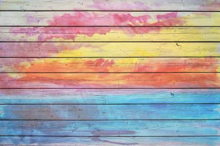 Vieja tarjeta de madera en colores del arco iris, buena estructura y detalle