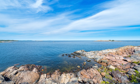rocky coastline: Rocky coastline in vivid colors during a beautiful summer day. Grisslehamn, Sweden