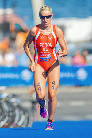 peron: STOCKHOLM - AUG 22, 2015: Gaia Peron (ITU) running on blue mat at the Womens ITU World Triathlon series event in Stockholm.