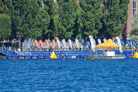 floaters: STOCKHOLM - AUG 23, 2015: Starting pier from the other side of Riddarfjarden at the ITU World Triathlon event in Stockholm. Editorial
