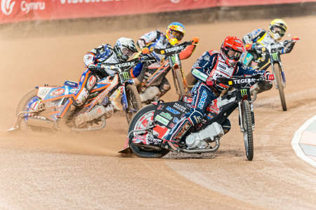 hancock: STOCKHOLM - SEPT 26, 2015: Chris Harris leading the heat before Hancock and the rest of the field at the TEGERA Stockholm FIM Speedway Grand Prix at Friends Arena in Stockholm. Editorial