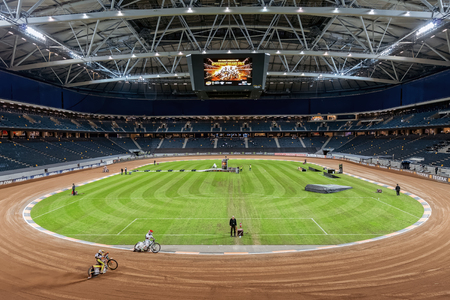gp: STOCKHOLM - SEPT 25, 2015: Practice for the Speedway GP at Friends Arena event at the TEGERA Stockholm FIM Speedway Grand Prix at Friends Arena in Stockholm. Editorial