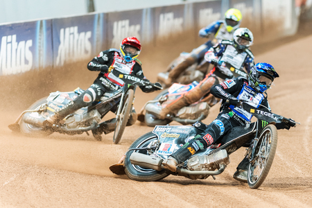 STOCKHOLM - SEPT 26, 2015: Tai Woffinden from Great Britain first in a curve at the TEGERA Stockholm FIM Speedway Grand Prix at Friends Arena in Stockholm.