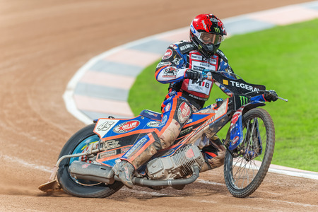 STOCKHOLM - SEPT 26, 2015: Closeup of Greg Hancock from the USA at the TEGERA Stockholm FIM Speedway Grand Prix at Friends Arena in Stockholm. Editöryel