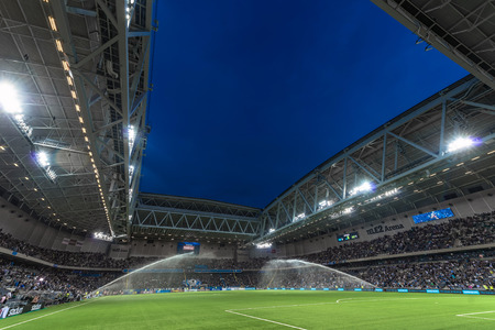 rivals: STOCKHOLM, SWEDEN - AUG 24, 2015: Tele2 Arena at the field before the derby soccer game between the rivals Hammarby and Djurgarden.