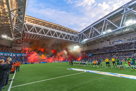 sideline: STOCKHOLM, SWEDEN - AUG 24, 2015: Tele2 Arena with Djurgarden tifo at the field before the derby soccer game between the rivals Hammarby and Djurgarden. Editorial