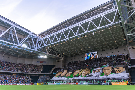 rivals: STOCKHOLM, SWEDEN - AUG 24, 2015: Tele2 Arena with Hammarby tifo at the field before the derby soccer game between the rivals Hammarby and Djurgarden. Editorial