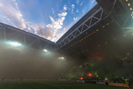 rivals: STOCKHOLM, SWEDEN - AUG 24, 2015: Tele2 Arena at the field and the Hammarby tifo at the derby soccer game between the rivals Hammarby and Djurgarden.