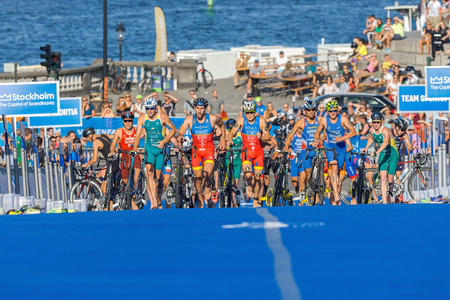 gomez: STOCKHOLM, SWEDEN - AUG 22, 2015: Transition to running with Javier Gomez and Hernandez from Portugal at the Mens ITU World Triathlon series event Editorial
