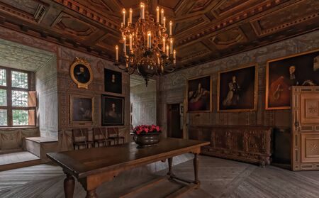 masonary: MARIEFRED, SWEDEN - JULY 28, 2015: Indoors at the Gripsholm castle in the idyllic small town of Mariefred.