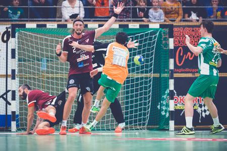 josef: STOCKHOLM, SWEDEN - NOV 4, 2015: Goal with the extra player Josef Pujol in the Handball game between Hammarby vs Lugi at Eriksdalshallen. Allsvenskan Swedish leugue