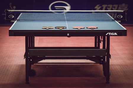 championships: STOCKHOLM, SWEDEN - NOV 11, 2015: Table tennis tournament SOC at the arena Eriksdalshallen. Swedish Open Championships