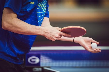 ストックホルム, スウェーデン - 2015 年 11 月 11 日: 卓球トーナメント アリーナ Eriksdalshallen で SOC。スウェーデン オープン選手権